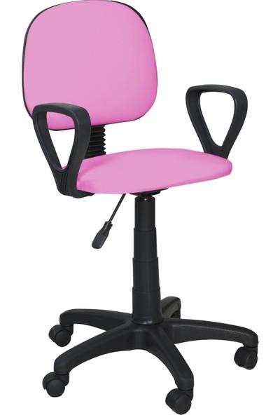 Remaks Ofis Sandalyesi Sekreter Koltuğu Bilgisayar Koltuğu Kollu Çalışma Taburesi Pembe