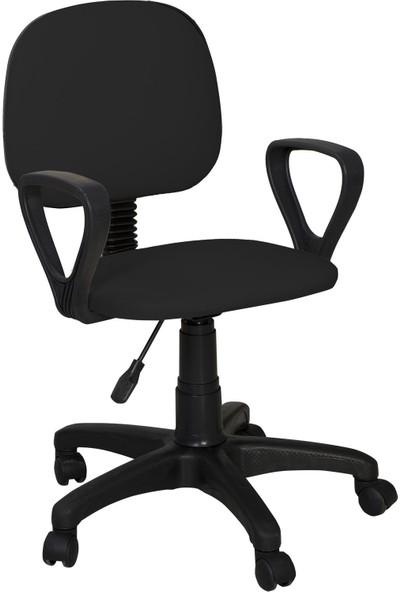 Remaks Ofis Sandalyesi Sekreter Koltuğu Bilgisayar Koltuğu Kollu Çalışma Taburesi Siyah