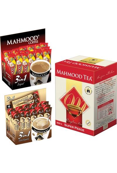 Mahmood Coffee 3'ü 1 arada ve 3'ü 1 arada Sütlü Köpüklü 48 x 2 ve Mahmood Tea Super Pekoe Seylan Çayı 800 gr