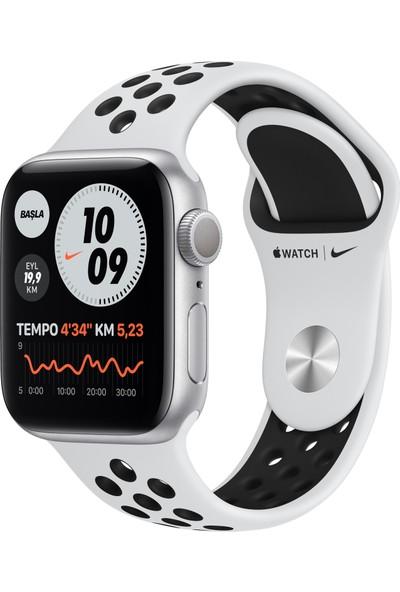 Apple Watch Nike Seri 6 44mm GPS Silver Alüminyum Kasa ve Pure Platinum/Siyah Nike Spor Kordon MG293TU/A