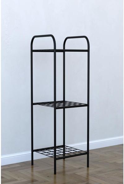 Remaks 3 Raflı Dekoratif Amaçlı Metal Ayaklı Saksılık Çiçeklik - Siyah