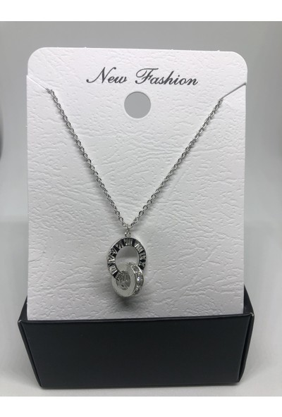 New Fashion Gümüş Rengi İç İçe Halka Zirkon Taşlı Kolye