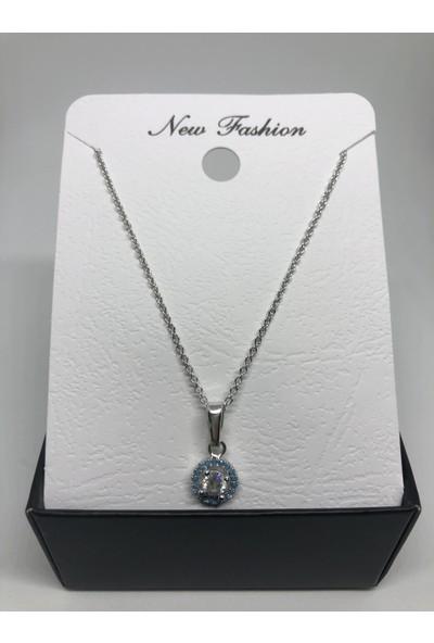 New Fashion Gümüş Rengi Açık Mavi Zirkon Tek Taşlı Kolye