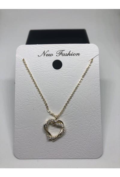 New Fashion Altın Rengi Kalpli Zirkon Taşlı Kolye