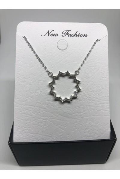 New Fashion Gümüş Rengi Güneş Figürlü Halka Zirkon Kadın Kolye