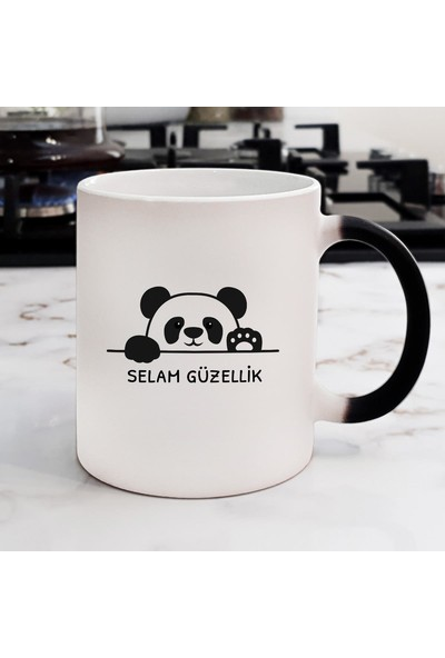 Hediyehanem Selam Güzellik Tatlı Panda Sihirli Kupa Bardak