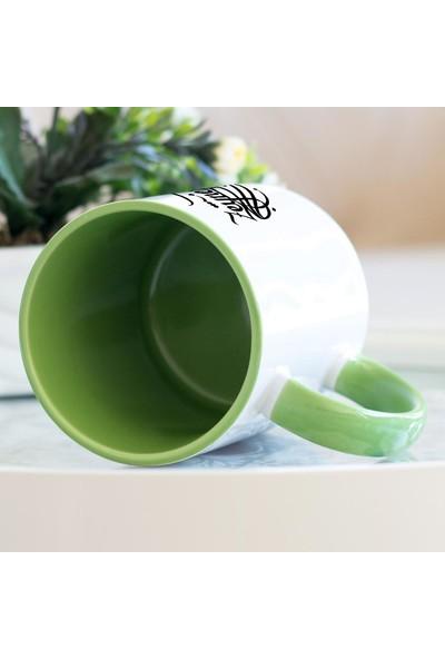 Hediyehanem Zeynep Kaligrafi Yeşil Kupa Bardak