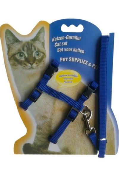 Katzen-Garnitur Ayarlanabilir Kedi Tasması 120 cm Mavi