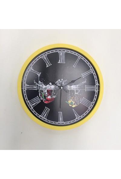 Platin Saat 36 cm Ahşap Sarı Mutfak Duvar Saati