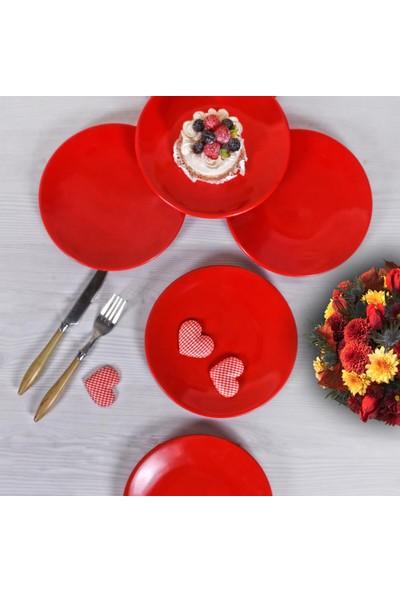 Evanilife Pasta Tabağı 6 Adet Kırmızı Seramik