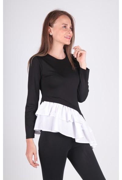 Meliana Eteği Fırfırlı Bluz Siyah S