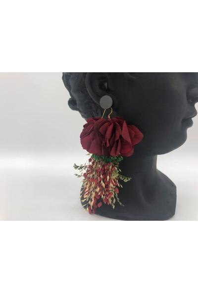 Afloday Kırmızı Tasarım Çiçek Küpe
