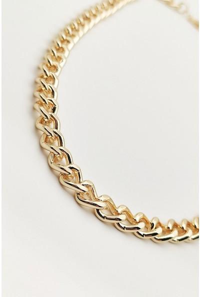X-lady Accessories Kalın Zincir Kolye Altın Sarısı Renk