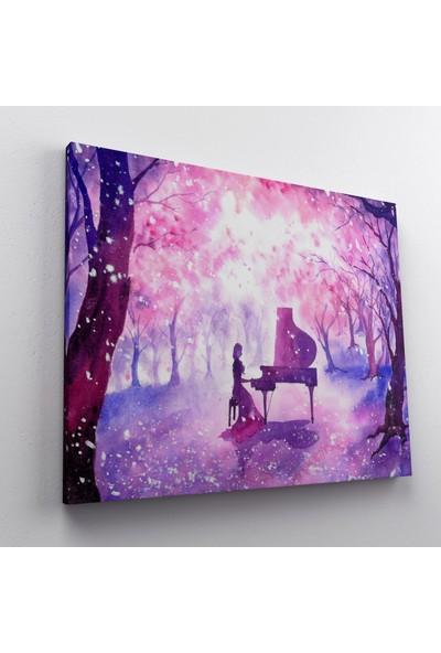 Jasmin Yağlıboya Piyano Çalan Kız Kanvas Tablo