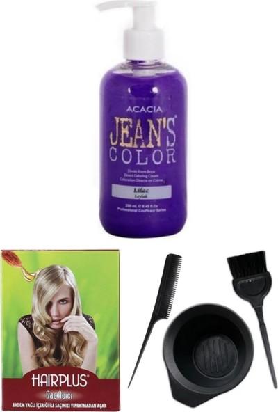 Acacia Jeans Color Saç Boyası Leylak 250ml, Saç Açıcı ve Boya Kabı Seti