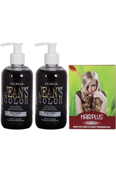 Acacia Jeans Color Saç Boyası Koyu Gri 250ml 2AD ve Hairplus Saç Açıcı