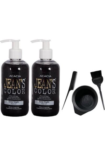 Acacia Jeans Color Saç Boyası Koyu Gri 250ml 2AD ve Saç Boya Kabı Seti