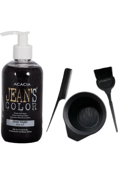 Acacia Jeans Color Saç Boyası Koyu Gri 250ml ve Saç Boya Kabı Seti