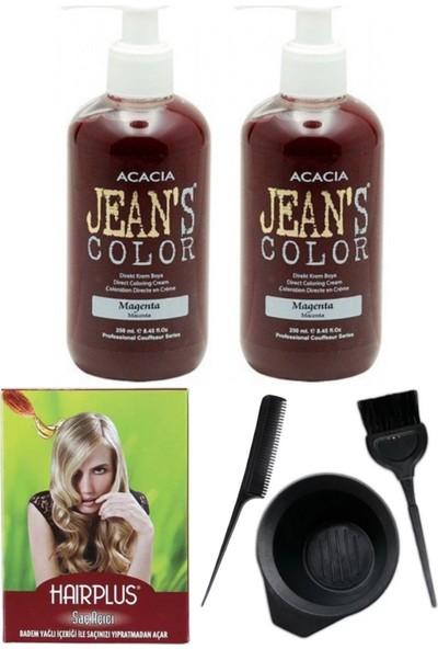 Acacia Jeans Color Saç Boyası Magenta 250ml 2AD, Saç Açıcı ve Saç Boya Kabı Seti