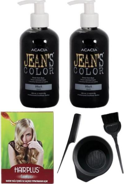 Acacia Jeans Color Saç Boyası Siyah 250ml 2AD, Saç Açıcı ve Saç Boya Kabı Seti
