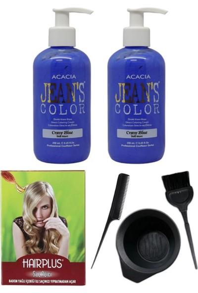 Acacia Jeans Color Saç Boyası Deli Mavi 250ml 2AD, Saç Açıcı ve Saç Boya Kabı Seti