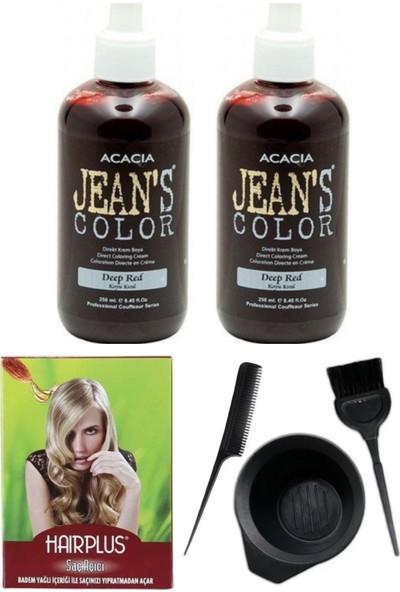 Acacia Jeans Color Saç Boyası Koyu Kızıl 250ml 2AD, Saç Açıcı ve Saç Boya Kabı Seti