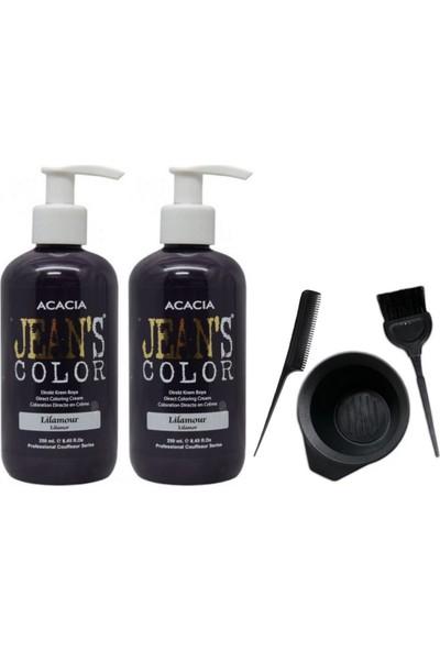 Acacia Jeans Color Saç Boyası Lilamor 250ml 2AD ve Saç Boya Kabı Seti