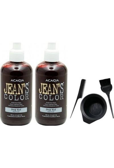 Acacia Jeans Color Saç Boyası Koyu Kızıl 250ml 2AD ve Saç Boya Kabı Seti
