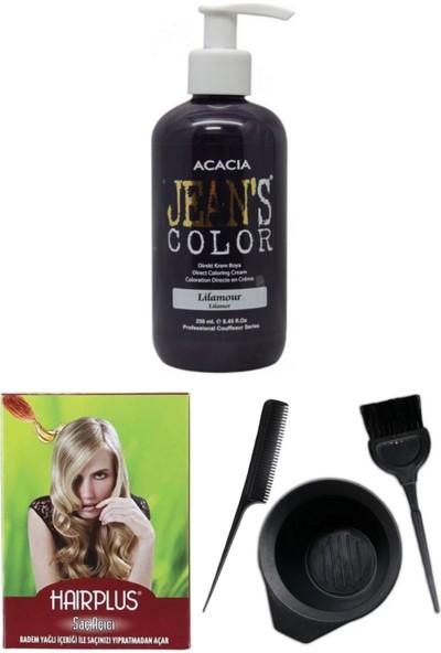 Acacia Jeans Color Saç Boyası Lilamor 250ml, Saç Açıcı ve Saç Boya Kabı Seti