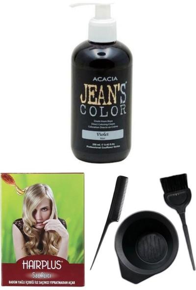 Acacia Jeans Color Saç Boyası Mor 250ml, Saç Açıcı ve Saç Boya Kabı Seti