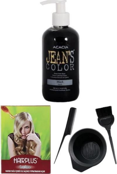 Acacia Jeans Color Saç Boyası Siyah 250ml, Saç Açıcı ve Saç Boya Kabı Seti