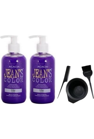 Acacia Jeans Color Saç Boyası Leylak 250ml 2AD ve Saç Boya Kabı Seti