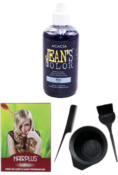 Acacia Jeans Color Saç Boyası Mavi 250ml, Saç Açıcı ve Saç Boya Kabı Seti