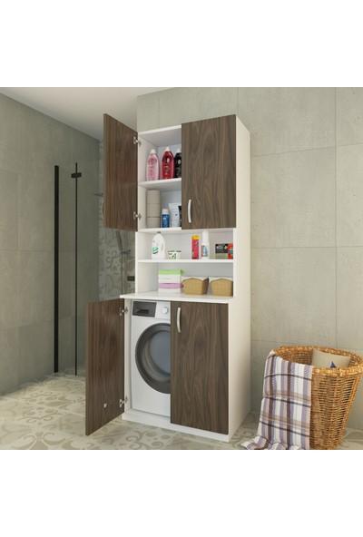 Indirimse Home Berlin Classic 4 Kapaklı Çamaşır Makinesi Dolabı