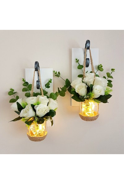 ST Dekor Stdekor Beyaz Gül Çiçekli Ledli Aplik 2'li Set