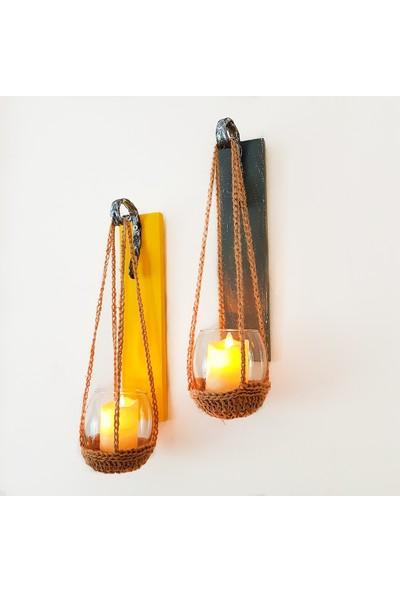 ST Dekor Sarı ve Antrasit Renk Led Mumlu Aplik Ikili Set