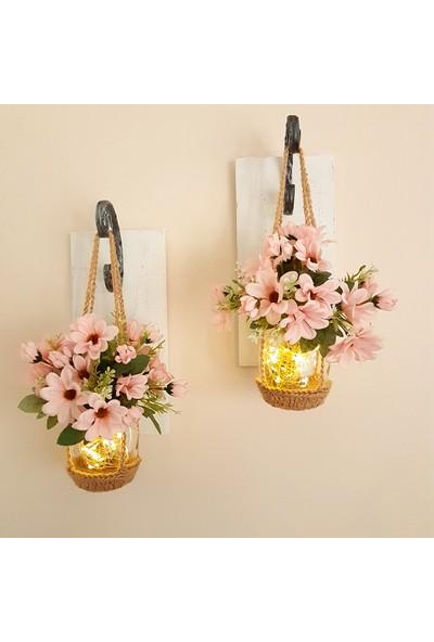 ST Dekor Stdekor Açık Pembe Çiçekli Ledli Beyaz Aplik 2'li Set