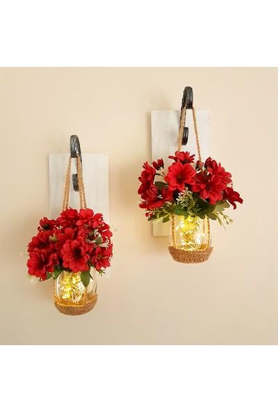 ST Dekor Stdekor Kırmızı Çiçekli Ledli Beyaz Aplik 2'li Set