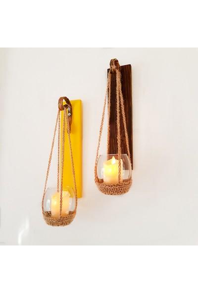 ST Dekor Ceviz ve Sarı Renkli Led Mumlu Aplik 2'li Set