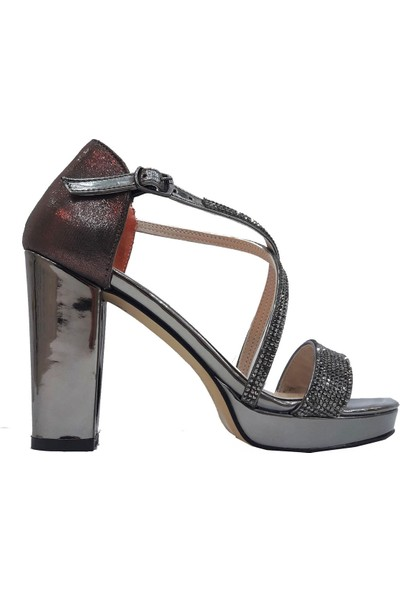 Erbay 146 Rugan Platform Topuklu Abiye Kadın Sandalet