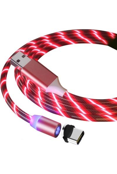 Judas Type-C Magnetic Akan Led Işıklı Şarj Kablosu 1 mt - Kırmızı