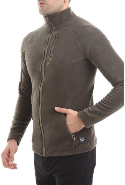 Ghassy Co. Snow Armor Erkek Tam Fermuarlı Koyu Haki Polar Ceket