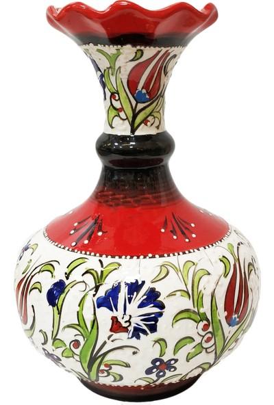 Otogar Çi̇ni̇ Tombul Çini Vazo Samur Fırça İşlemeli