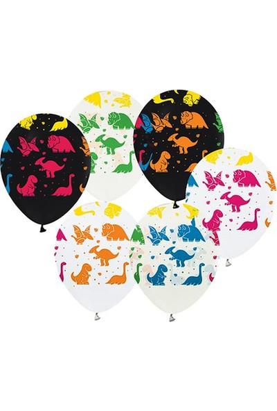 Benim Marifetlerim Dinozor Baskılı Balon 12 Inch 10 Adet