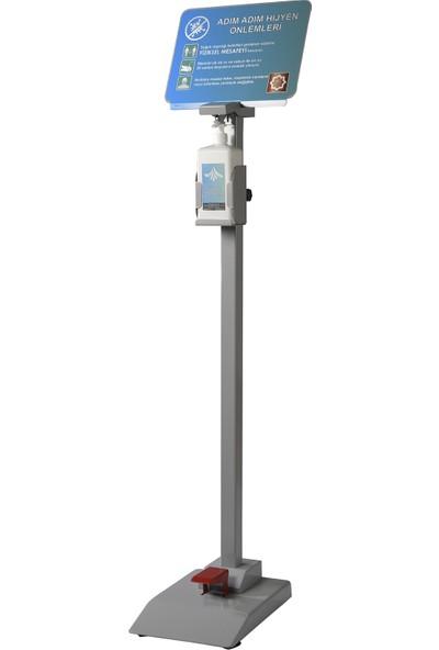 Hg Solution Ayak Basmalı Dezenfektan Standı Metalik Gri
