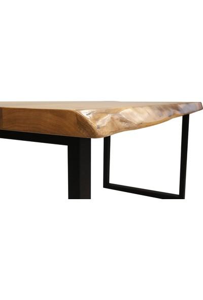 Ateş Wooden Doğal Ahşap Ceviz Kütük Yemek Masası 100x80x5