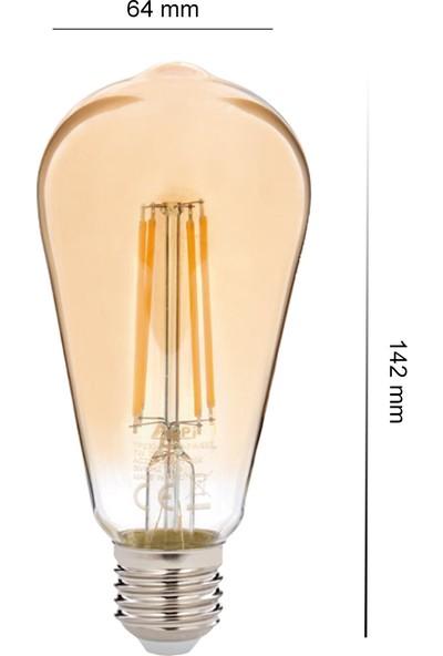 Alpi 7w ST64 Flamanlı Rustik Bal Rengi LED Ampul 10'lu