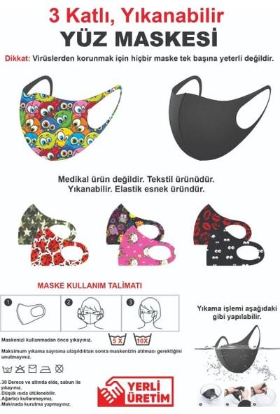 Ümit Çanta Yıkanabilir 3 Katlı Çocuk Yüz Maskesi - Fashion Desenli
