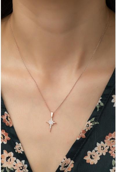 Nereze 925 Ayar Gümüş Minik Kutup Yıldızı Kadın Kolye