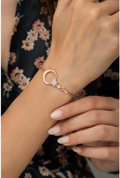 Nereze 925 Ayar Gümüş Rose Ayyıldız Kadın Bileklik